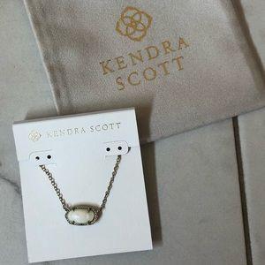 Kendra Scott White Stone Short Silver Necklace
